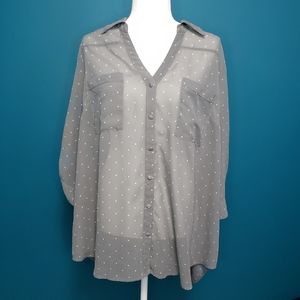 Torrid button down blouse with polka-dots